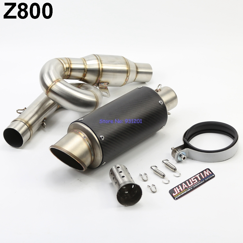 JHAUSTIM Z800 Exhaust Muffler System Carbon Motorcycle Mid Link Pipe and Exhaust Pipe Escape with DB Killer for Kawasaki Z800