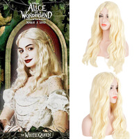 White Queen Wig Alice in Wonderland The Wig Queen Cosplay Long Blond Curly Hair Fairy Princess White Queen Costume Accessories