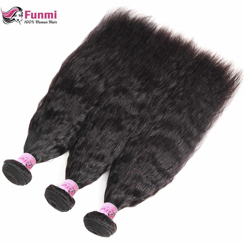 Необработанные кудрявые прямые волосы бразильские волосы плетение пучки грубая яки 100% человеческие волосы пучки Фунми девственные волосы пучки