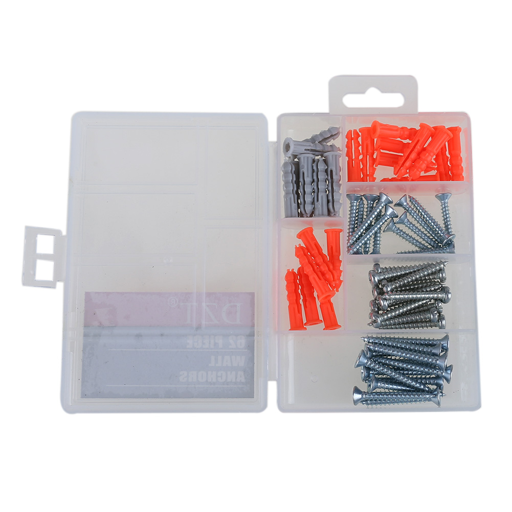 62pcs Self Tapping Wall Anchor Expansion Screw Bolt Small Screws Hardware Clear Case With Assortment Kit hardware tools plastic insulation nail wall expansion bolt anchor size 10 cm wall insulation sleeve $ 0 12 2500 bagging