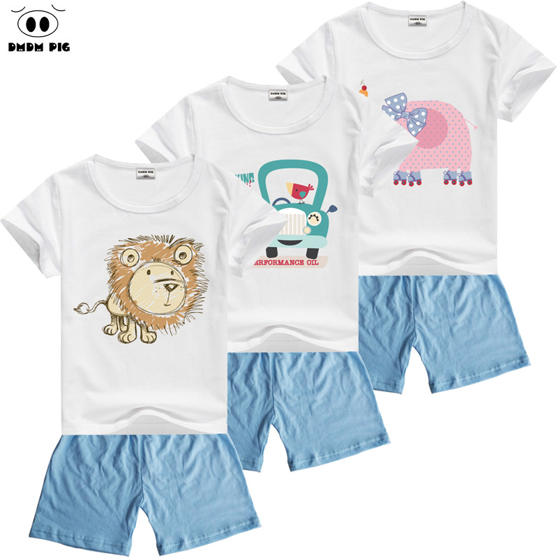 DMDM PIG 2017 Toddler Baby Boy Cartoon Clothes Sets Short Sleeve T-Shirt+ Cute Shorts Summer Children Sets for Boy Girl T-Shirts цена 2017
