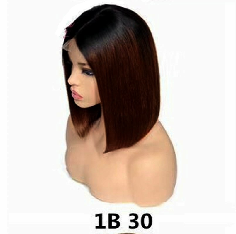 Free Shipping 9 Styles For Choose Colorful Short Straight Lace Front Human Hair Wigs Brazilian Bob Wigs