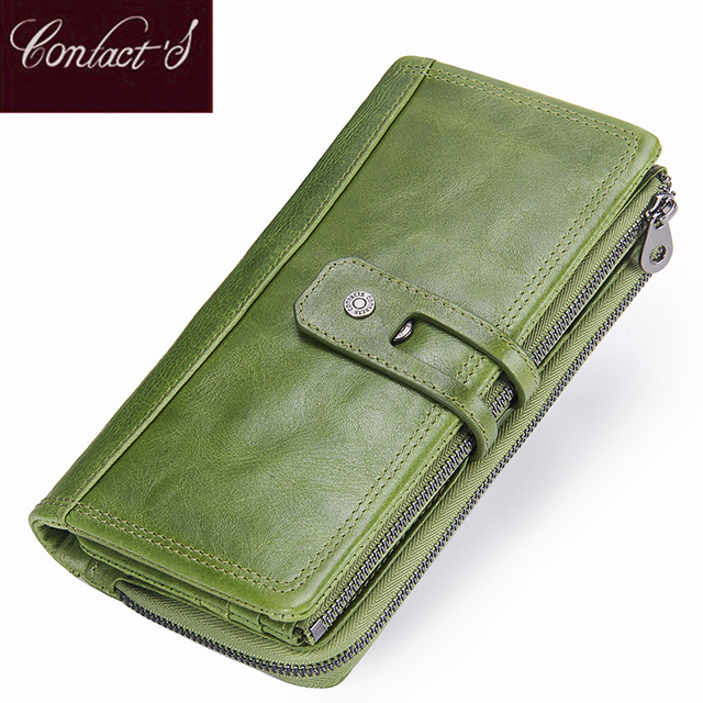 Contact's Genuine Leather Women Wallet Fashion Female Long Clutch Wallets Zipper Card Holder Purse Large Capacity For Girls Bag