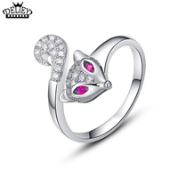 DELIEY 100 Real 925 Sterling Silver With CZ Diamond Creative Small Fox Opening Ring Fine Jewelry