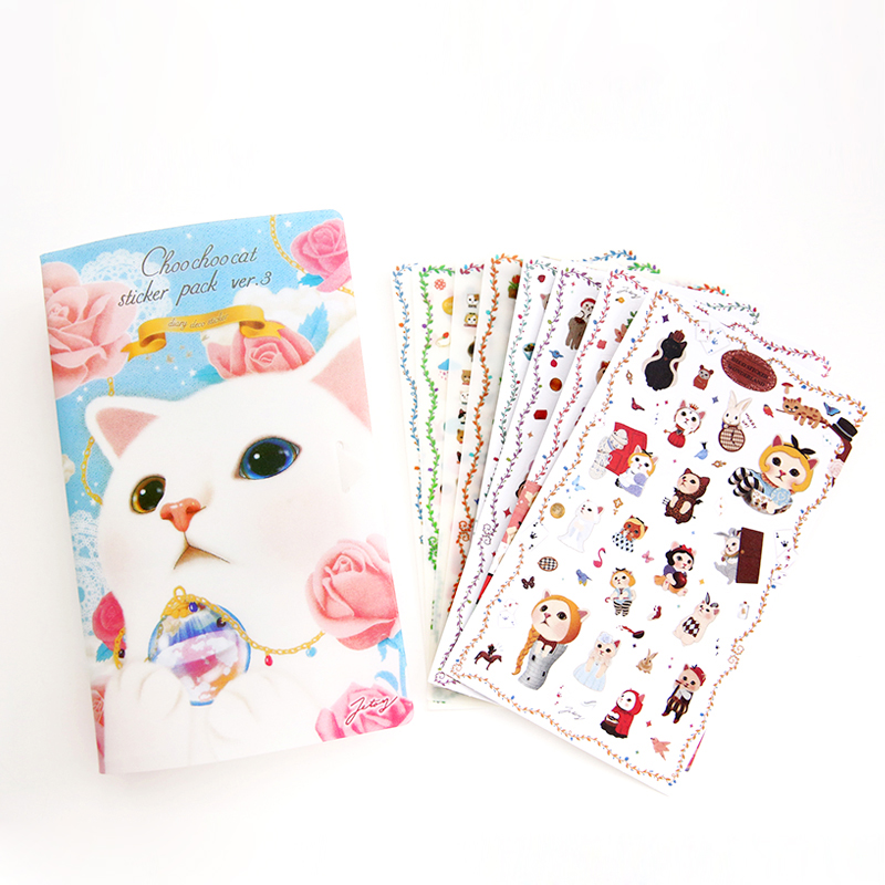 8 Sheets/Pack Korean Jetoy Kawaii Cute Kittens Cat Decoration Sticker Tranparency Stickers and Paper Stickers