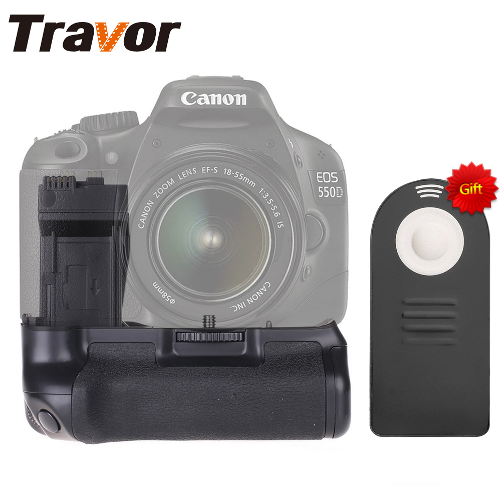 купить Travor Battery Grip For Canon 550D 600D 650D 700D Rebel T2i T3i T4i T5i as BG-E8 +Universal Remote control as a gift по цене 1806.01 рублей