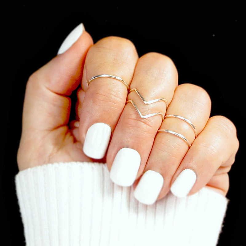 5PCS/Set Fashion Boho Double Lines V Chevron Rings For Women's Gift Simple Geometric Bague Dainty Rings Femme Jewelry