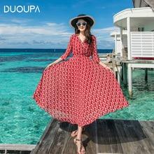 DUOUPA Dress Female Summer Chiffon Floral Slimming High Waist Round Neck Color Elastic Waist Sleeves Bohemian Beach Dress fashionable round neck chiffon dress w waist belt green l