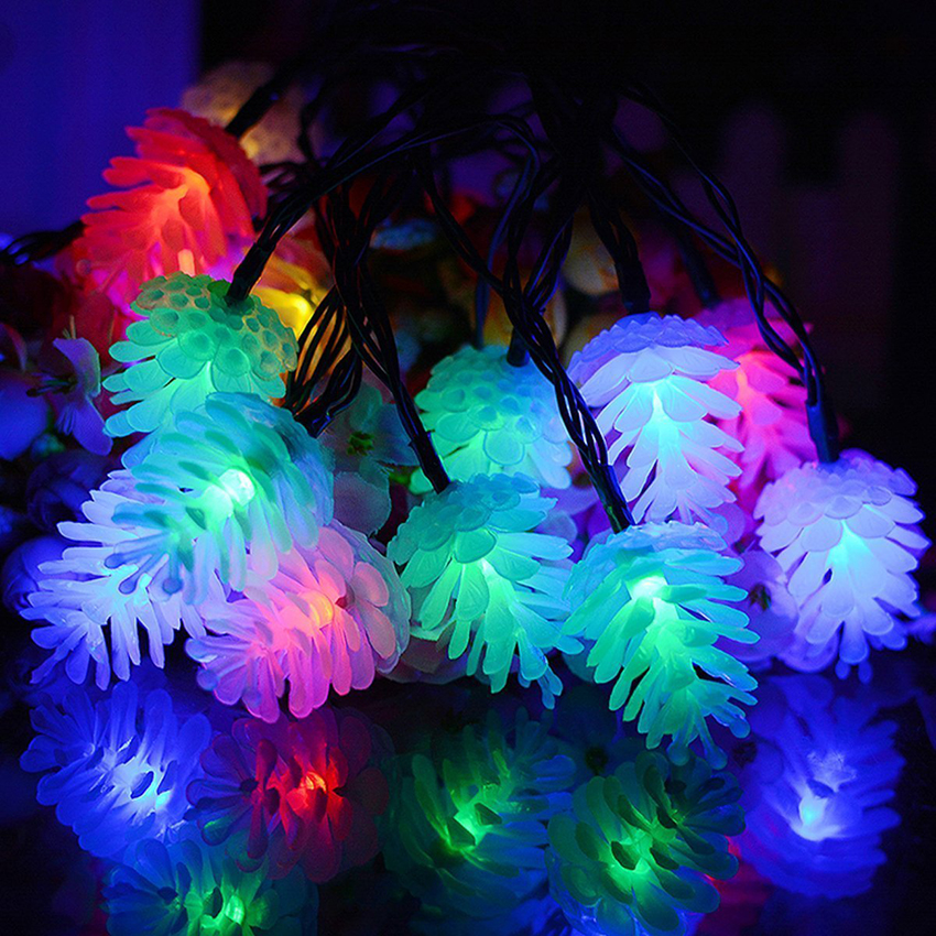 4M 20leds Colorful Pinecone LED String Light Waterproof Pine Cone Christmas Lights Garlands For Holiday Party Wedding Decoration