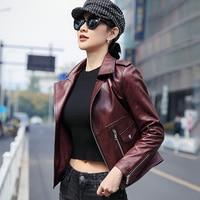 Ptslan 2019 Women's Real Leather Jacket Lady's Lambskin Jackets Coat Motorcycle Classic P5214