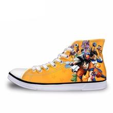 NOISYDESIGNS Fashion Anime Dragon Ball Z Print Men High-top Vulcanized Shoes Cool Super Saiyan Son Goku Canvas Shoes for Men Boy