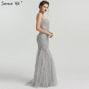 Image 4 - Grey Luxury Diamond Sequined High end Evening Dresses 2020 Elegant Mermaid Sleeveless Sexy Evening Gowns Serene Hill LA6587