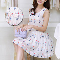 Brand Chiffon Maternity Dresses for Summer Ice Cream Patterned Sleeveless Maternity Dress Pregnancy Clothes for Pregnant Women