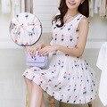 Vestidos de marca Chiffon sorvete verão sem mangas estampado maternidade gravidez roupas para mulheres grávidas