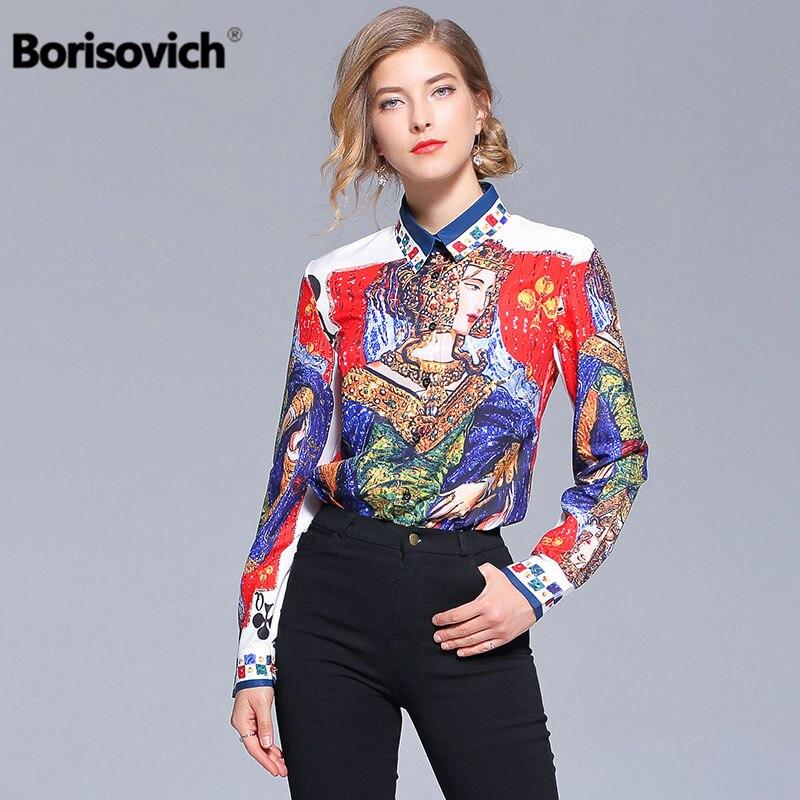 dfdedd71298 Купить Борисович Для женщин футболки новый бренд 2018 Осенняя мода  Европейский Стиль Винтаж принтом элегантные женские Повседневная блузка  рубашка.