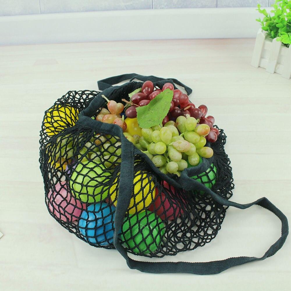 Лимит 100 многоразовый фруктовый шоппинг струна продуктовый шоппер хлопок тоут сетка тканая сетка мешок P - Цвет: Черный
