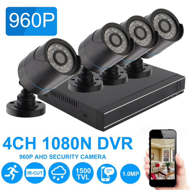 4CH 1080N DVR Outdoor Indoor Weatherproof Surveillance Camera 1500TVL Night Vision Security 720P Camera System Kit UK Plug