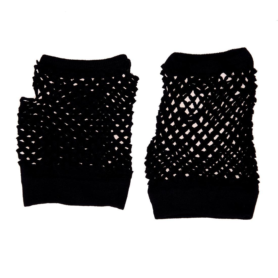 Good deal 2pcs Fish Net Elastic Short Gloves Fingerless Mittens Black for Ladies