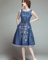 Summer Thin Denim Dress Women Floral Embroidery Sleeveless Vest Midi Dress Jeans Long Bohemian Vestidos Girls Casual Tunic Dress