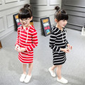 2016 Special Offer Real Vestidos Elsa Spring Children's Dress Girls' Stripe Long Sleeved Hooded Girls Clothes Summer Q184