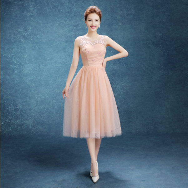 girl peach cocktail dress sleeveless lace womens dresses cocktail ...