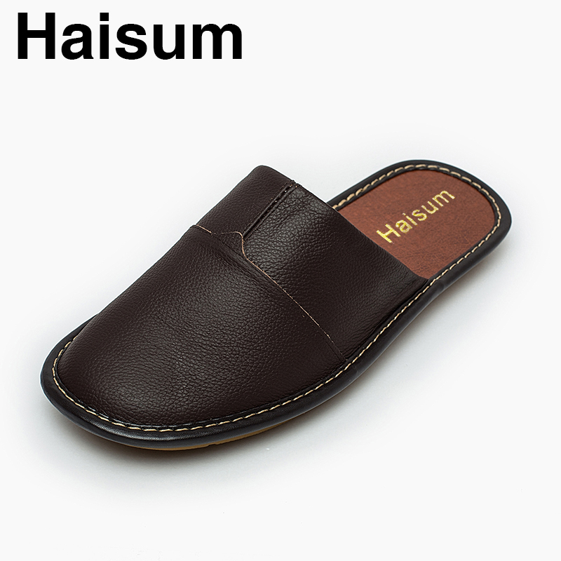 14c30f4295c0 Men Slippers Spring And Autumn genuine Leather Home Indoor Non Slip Thermal  Slippers 2018 New Hot Haisum H 8808 -in Slippers from Shoes on  Aliexpress.com ...