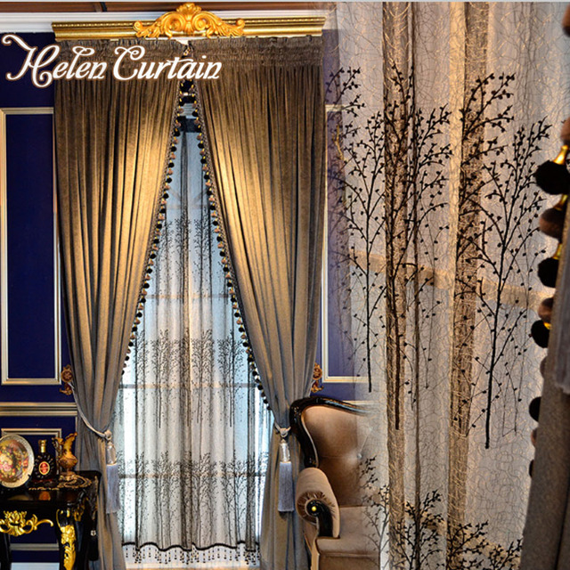 Helen Curtain Luxury Curtains For Living Room European Style Grey Velvet  Blackout Curtains Bird Nest Luxury