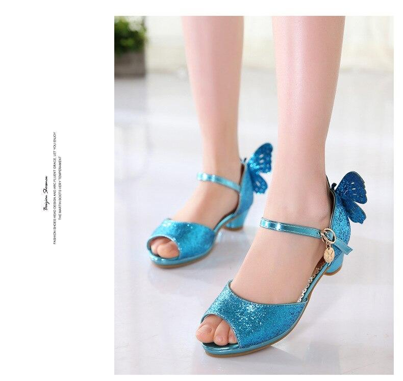 salto alto Princesa Meninas Sapatos de Couro