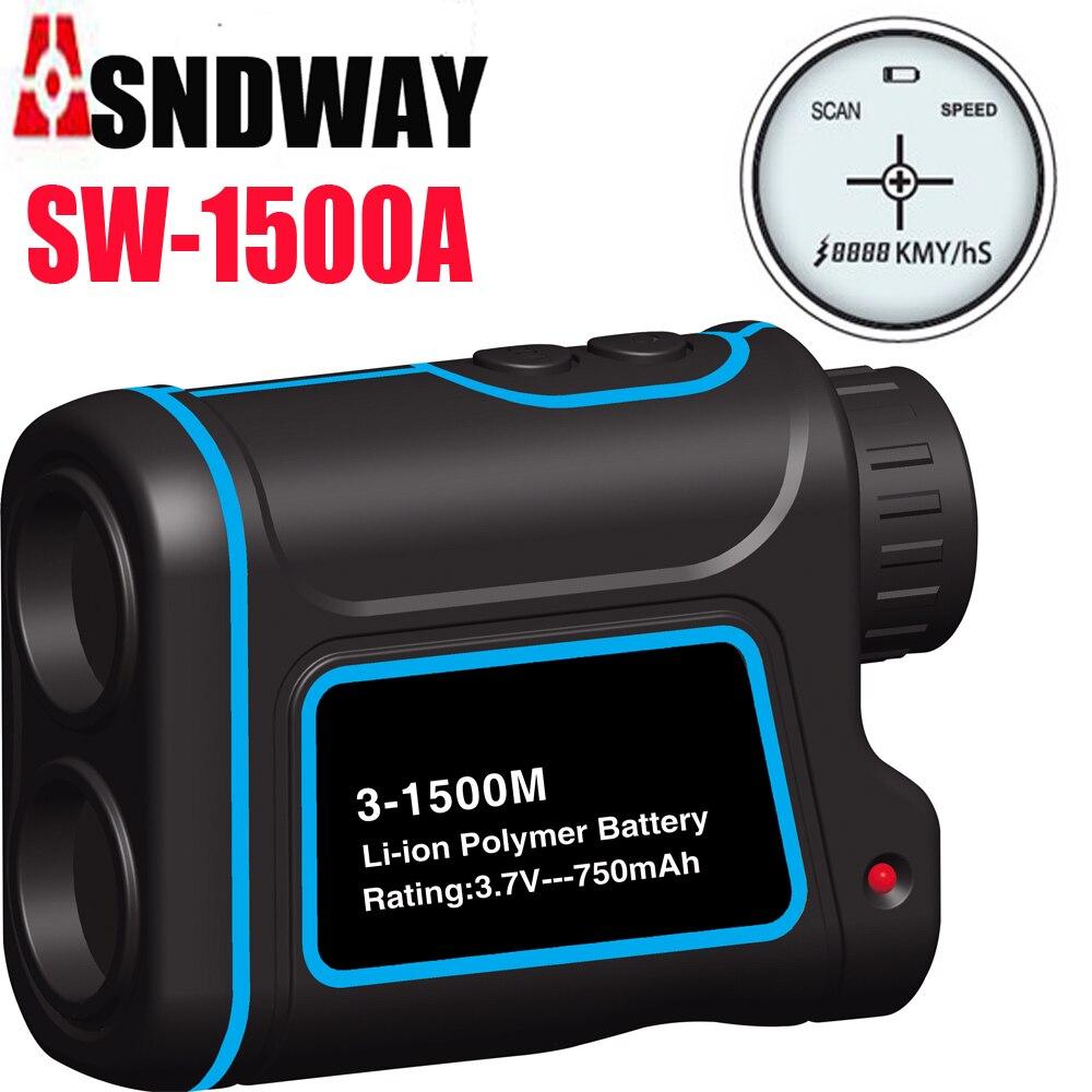 1000 m 1500 m Golf laser range finder telêmetro caça rangefinder Medição da altura/velocidade/ângulo de visão monocular telescópio