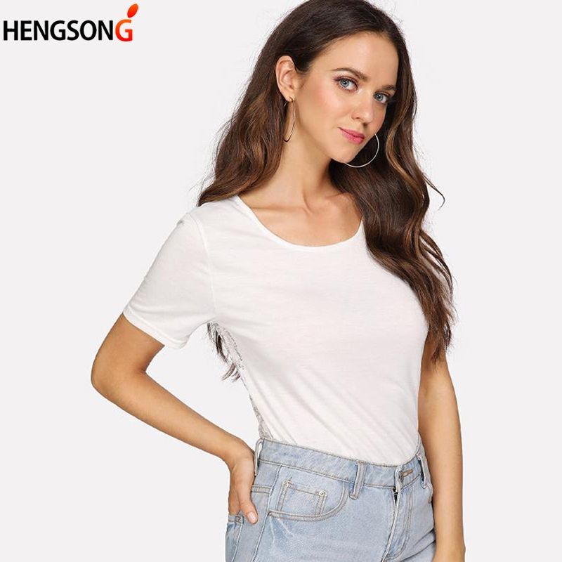 2018 New Women Summer Casual O-Neck Top Tee Female Clothing Splicing Openwork Lace Short White T-Shirt