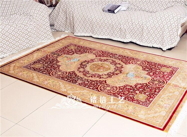 5'x7. 5' tapis de soie persan rouge noué à la main tapis Oriental fait main