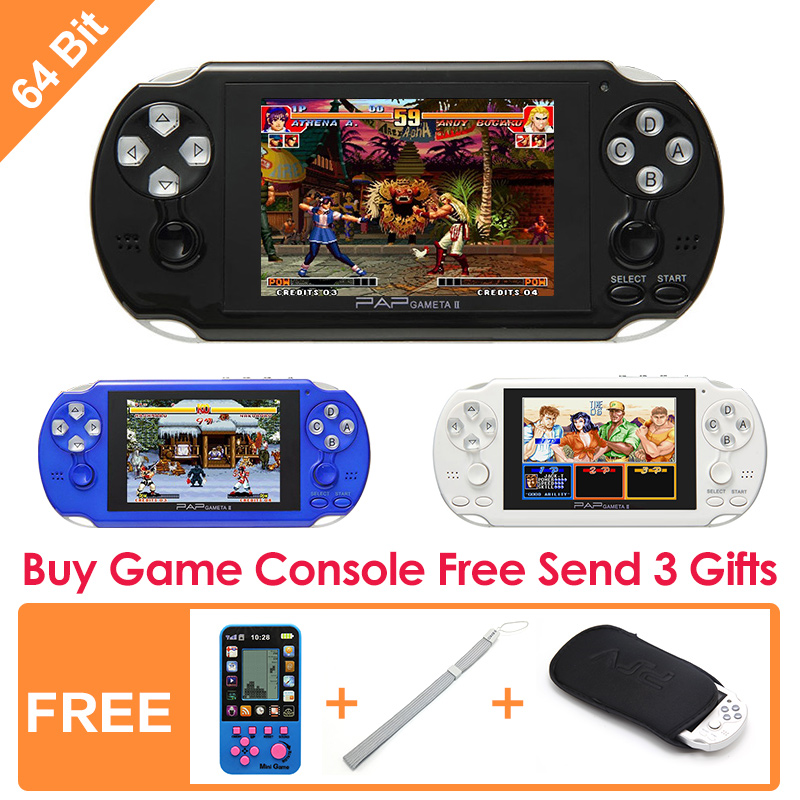 ФОТО 64Bit Handheld Game Console 4.1''  Video Game Console  Support Built-in 631 CPS/NEOGEO/GBA/SFC/MD/FC/GBC/SMS/GG Games Mp5 Player