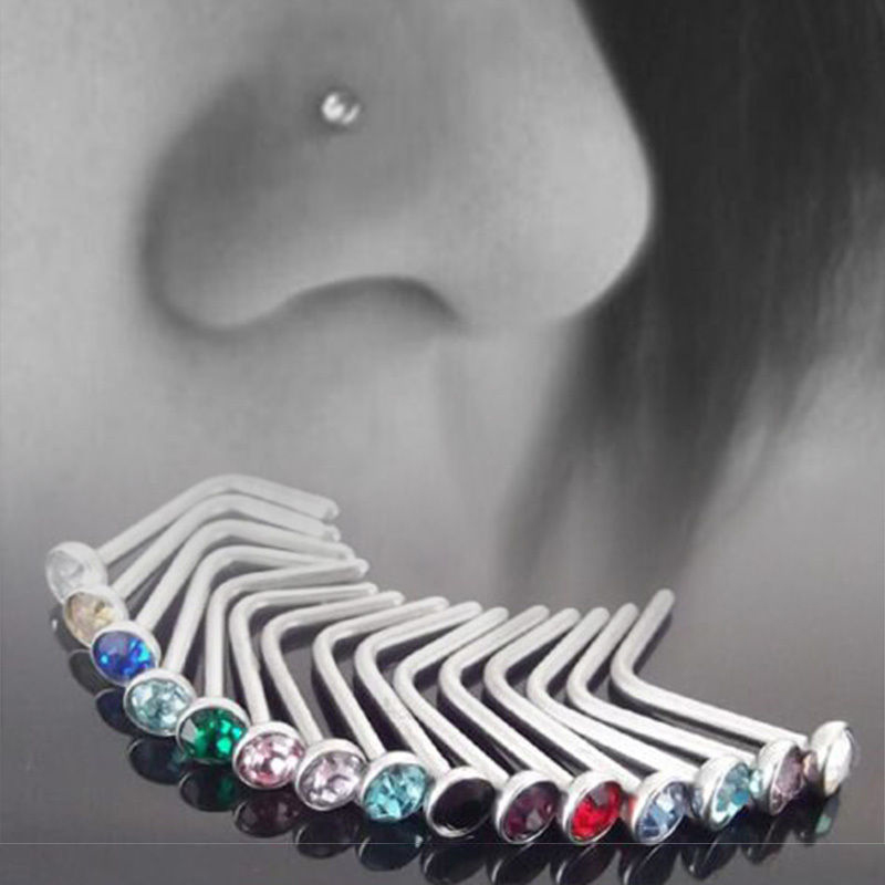 10 pcs Punk Style Piercing Nose Lip Jewelry  Body Jewelry For Man Women Studs 1.8mm Pick Drop Shipping(China)