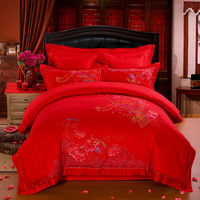Svetanya Embroidered Wedding King Size Bedding Sets cotton silk jacquard Chinese Phoenix Floral Red Bedlinens