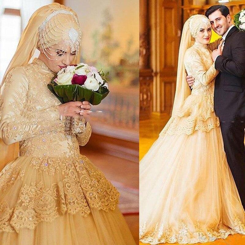 Elegant Long Sleeve Muslim Wedding Dresses A Line High Collar Peplum Sweep Train Mideast Lace Appliques Bridal Gown