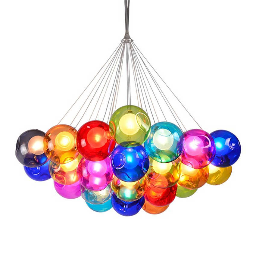 Modern Led Chandelier Color Bubble Ball Pendant Lamp Home Deco Hanging Lamp Customizable Bedroom Living Room Restaurant Lighting