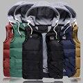 2017 homens Novos do estilo Engrosse Magro Coletes Casuais Chapéu Colete Destacável para o Inverno Tendência Juventude Grande Plus Size M-5XL Cinco Cores Colete