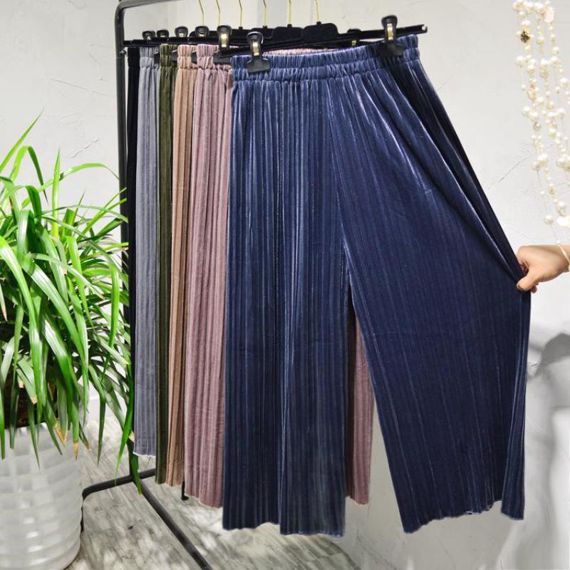 2019 Korean Version Of Elastic Waist Loose   Pants   Solid Color Gold Velvet Pleated   Wide     Leg     Pants   All-match Slacks Free Shipping
