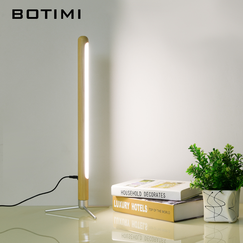 BOTIMI 220V LED Table Lamp With Touch Switch For Bedroom Wooden Bedside Lights In Tube Shade Modern Standing Reading