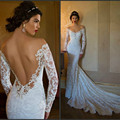 Berta Wedding Dresses Mermaid 2016 Cheap Lace Long Sleeve Sheer Bridal Dress Sexy Vintage Off the Shoulder Spring Backless