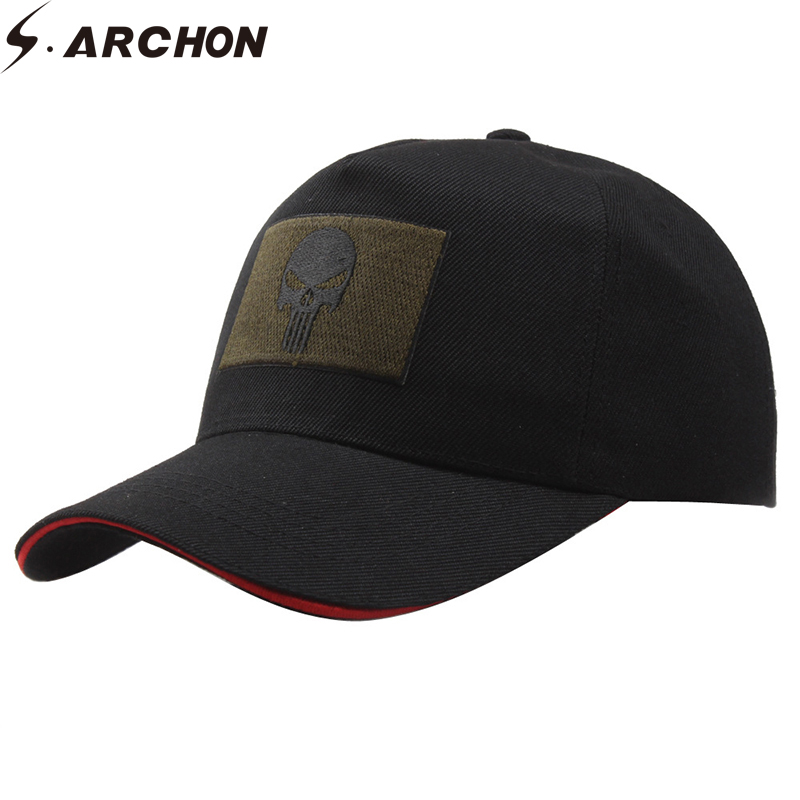 S.ARCHON Unisex Skull Militar Tactical Baseball Cap Men Embroidery Snapback Army Caps Women Casual Cotton Black Navy Seal Cap