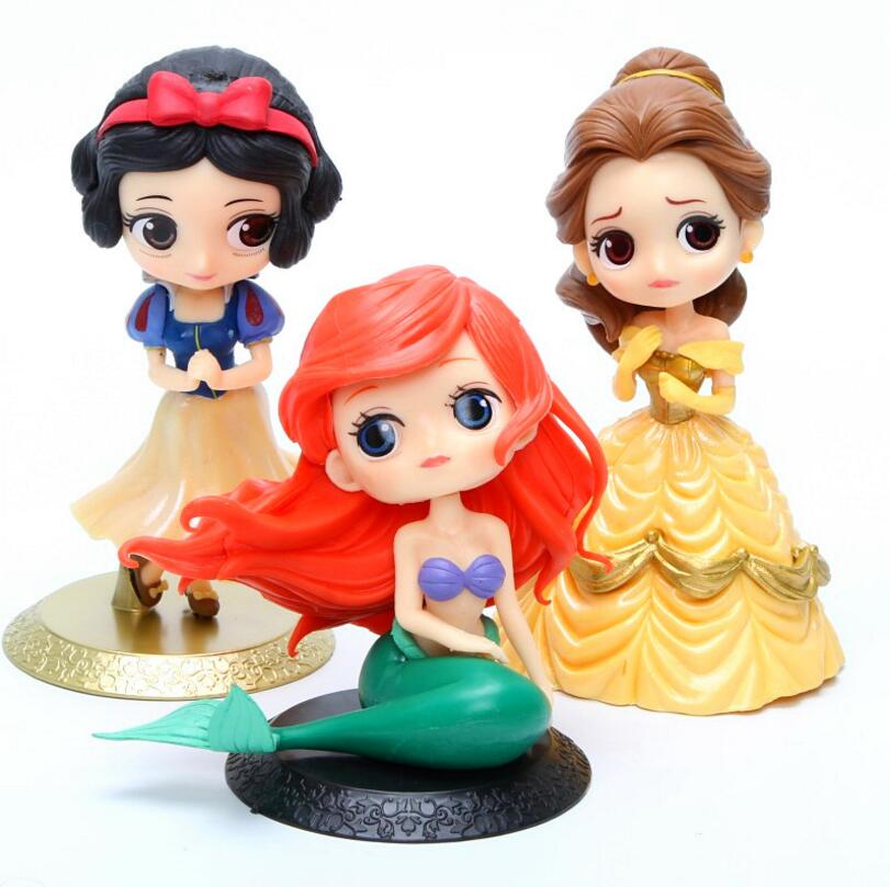 1pc Princess doll 14cm Snow white figures Beauty and The Beast Belle DIY Party Cake Decoration Toys Play house Toys for girls ucanaan 1 3 bjd sd doll beauty and the beast girls dolls with outfit dress wig makeup princess doll for children new year gifts