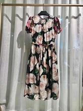 Floral Pure Silk Dress For Women 2019 Summer America Pink Flowers Blossom Print Short Sleeve Mid-calf Length Vintage Dresses