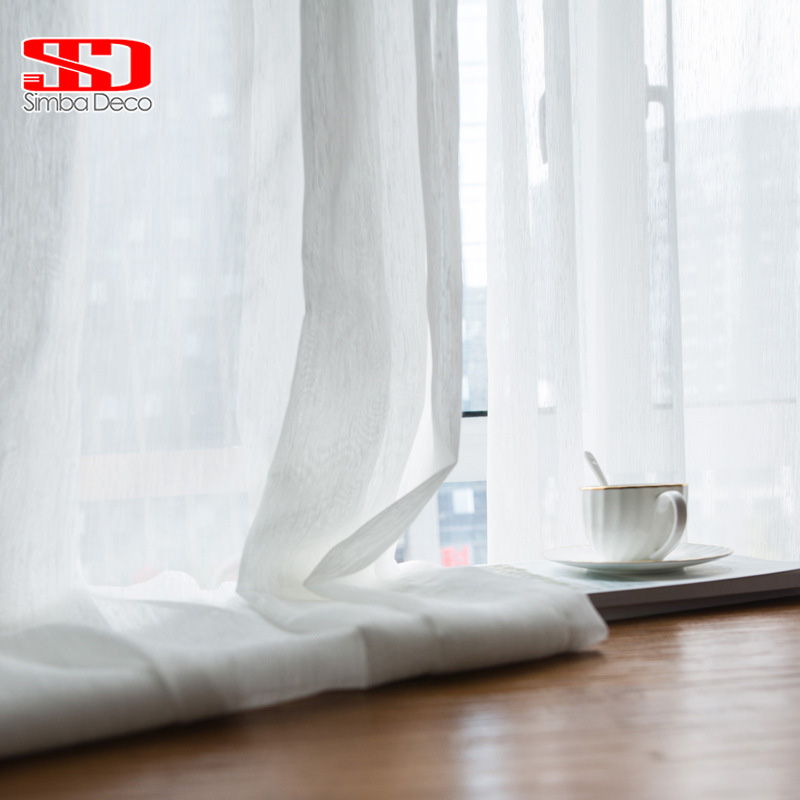 White Tulle Curtains For Living Modern Simple Light Sheers Fabric For Hanging Bedroom Decoration Voile Windows Treatments Blinds