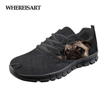милые черные квартиры | WHEREISART/Женская обувь из черной джинсовой ткани с животным 3D милая собака мопс на плоской подошве; женские кроссовки; Женская Удобная Обувь На...