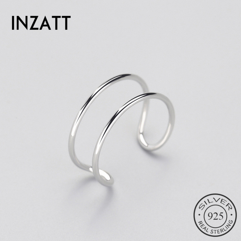 INZATT Minimalist Geometric Double Line Adjustable Ring Genuine 925 Sterling Silver Trendy Fine Jewelry For Charm Women Bijoux