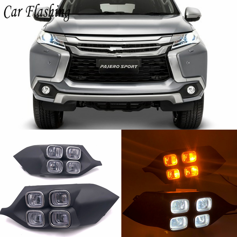 Car Flashing 2Pcs For Mitsubishi Pajero Sport 2016 2017 4Eyes 12V LED Daytime Running Light DRL