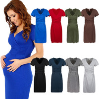 Summer Sexy Plus Size Maxi Dresses Maternity Clothing Gestante Photography Props Robe Nursing Clothes For Pregnant