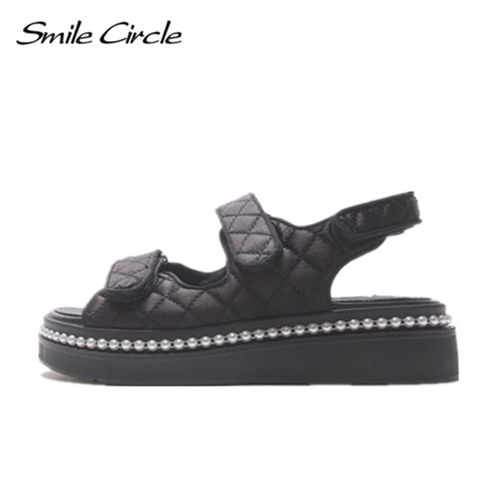 Smile Circle 2017 Summer Style Sandals For Women Shoes Fashion Pearl Platform Sandals Casual Open Toes Shoes slipper 1114