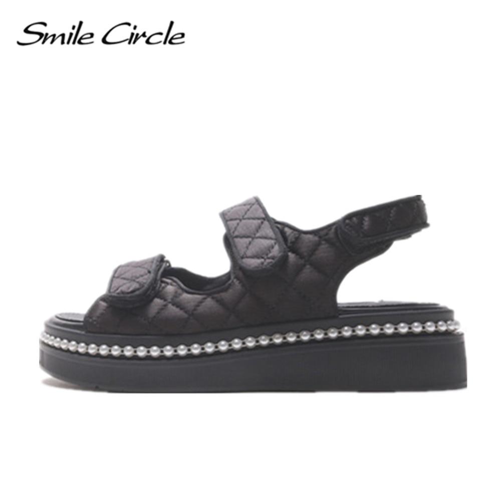 Sourire Cercle 2017 Style Sandales Pour Femmes Chaussures D'été De Mode Perle Plate-Forme Sandales Occasionnels Ouvert Orteils Chaussures pantoufle 1114